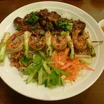 Grilled Lemongrass Chicken and Prawn Bowl with Vermicelli