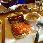 Salmon Burger (very juicy) with the West Coast Chowder (One of the best I've ever had)