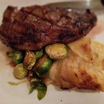 Rib-eye, brussel sprouts, potatoes