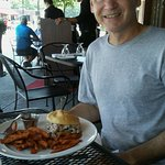 Happy Hubby With His Fresh Cut Sweet Potato Fries