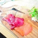 Beetroot & liquorice smoked salmon, celeriac slaw, baby leaves