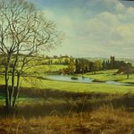 Painting by David Fisher showing Cameley Lakes and Cameley Lodge (1979)
