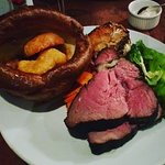 Incredible Sunday roast with a giant yorkshire and bonemarrow gravy!