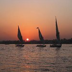 Sun set by the Nile river