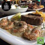 A combo of Sirloin and prawns, the ultimate Surf and Turf