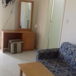 sofa with coffee table and dressing table