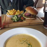 Soup and burger