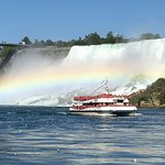 Maid of the Mist view of Canadian boat and rainbow