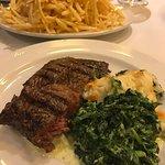 Kobe steak, creamed spinach, fries