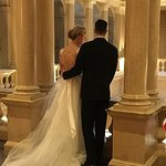Bride & Groom overlooking the main lobby from the upper ballroom - a magnificent day!