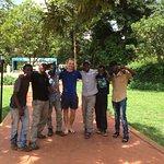 Our team who climbed Kili outside the hotel.