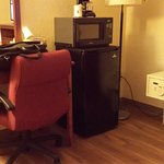 coffeemaker, microwave, fridge, safe, work desk