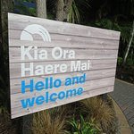 Rainbow Nature Park Welcome Sign in the Maori Language