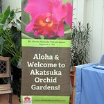 welcome sign to Akatsuka Orchid Gardens