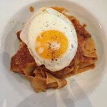 Wild Boar Pappardelle with a sunny side up egg
