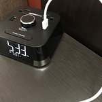 Cool Clock Radio with USB and Power Ports. I'm ordering one of these!!!