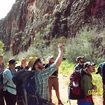 Greg and Alexi in the foreground - explaining the many layers of the Canyon walls