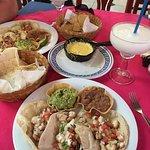Fish tacos, queso, margaritas