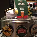 Clancy the sheep slecting a beer at happy hour