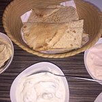 Pita bread with 3 delicious dips