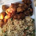 Sweet & Sour chicken with fried rice.