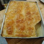 Galactobouriko - Greek honey custard topped with filo pastry