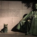 FDR Memorial and one of his many dogs.