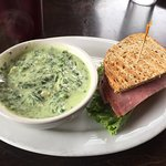 Spinach-artichoke soup with ham and cream cheese sandwich, minestrone soup with spinach salad an