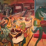 Dinosaur Bar-B-Que - mural on wall over our table