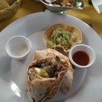 Steak burrito with guacamole