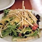 Salad of the Day - Mexican, Spring greens w/ black beans, tomato, cheese & tortilla strips.