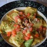Fresh mushroom ravioli---YUM!
