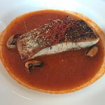 Barramundi on saffron and tomato broth