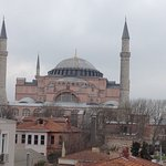 View from the terrace of Celal Sultan Hotel, Sultanahmet, Istanbul. This is a photo of Aya Sofia