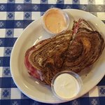 Reuben - ask for creamy horseradish on side!