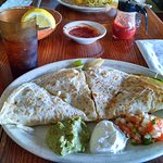 Delicious fajita quesadilla. Not on the menu but they'll make it if you ask. Great for vegetaria