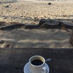 Morning coffee by the beach