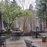The patio behind the breakfast area. We were there in March 2017 and it was snowing.