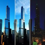 Trump Tower - Chicago from room 1517 - Morning, midday and night