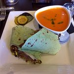 Steak Wrap with Red Pepper Soup