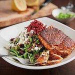 Quinoa and arugula salad with salmon. Simply amazing.