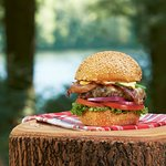 """This is one """"Hell-OF-A-Burger""""! Choose from a list of mouth watering burgers."""