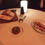 Steak tartare with quail yolk and crispy toast...unreal