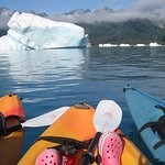 Kayaking at Bear Glacier with friends - amazing!