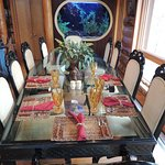family dining and aquarium