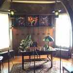 Man cave - Tiffany glass in the window behind the desk!