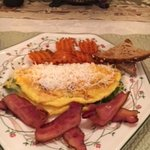 Spinach and Cheese Omelet with bacon, toast , and sweet potatoes