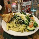 pesto and veggies on penne