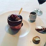 Chocolate Souffle with Licorice Ice Cream and Chocolate Sauce