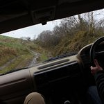 Uphill with the right wheels on the bank - do not look out the passenger window!